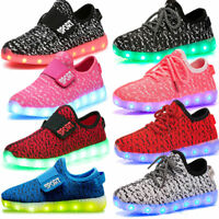 LED RGB Light Up Boys Girls Luminous USB Sneakers Kids Children Casual Shoes