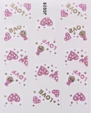 Nail Art Decal Stickers Glitter Nail Tips Love Hearts JC028