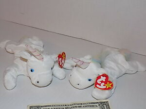 Two Ty beanie baby mystic unicorns Twin Names With Different Color Mane and Tail