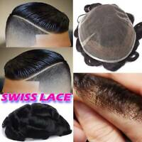 For Man Swiss Lace Human Hair Toupee Wig Replacement System Poly Skin Hairpiece