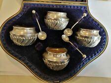 Boxed 193/94 Hilliard & Thomason Birm' sterling silver salts & spoons (7)123gms