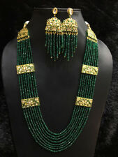 Babosa Sakhi Indian Bollywood Long Kundan Necklace Emerald Green Onyx Beaded Set