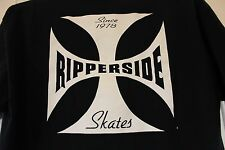 RIPPERSIDE Skates Graphic T-Shirt Black w/ White XL 100% Cotton Extra Large Punk