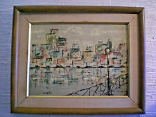 MID-CENTURY ABSTRACT PAINTING OF CITYSCAPE / Signed by Artist