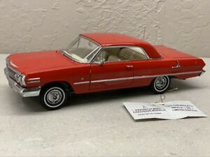 1963 FRANKLIN MINT CHEVROLET chevy IMPALA SS RARE RED MINT MODEL 1/24 Limited Ed