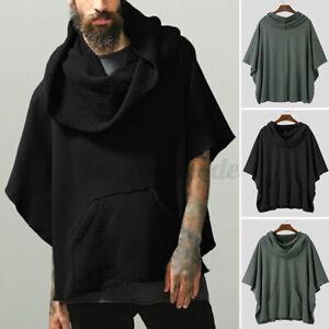 Mens Poncho Fleece Warm Thermal Cape Coat Jacket Cloak Outwear Coat Jumper Tops