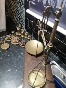 Antique 19th Century Scales,W & amp; T AVERY MAKERS, Plus Antique Brass weights