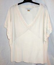 Peter Nygard Ivory Silk/Rayon/Nylon Crochet  Embellished V Neck Drop Shoulder