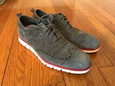 Cole Haan Zerogrand Gray Suede Leather Wingtip Casual Sneakers Shoes Men's 10.5