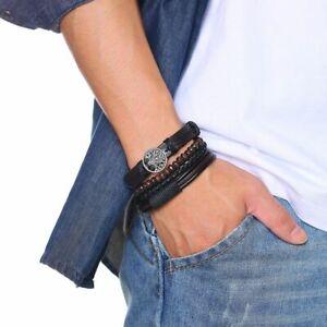 4pcs Braided Wrap Leather Bracelets Vintage Wood Ethnic Tribal Wristband Jewelry