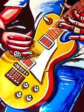 ROCK HANDS PRINT gibson les paul goldtop guitar art vintage knobs bridge pickups