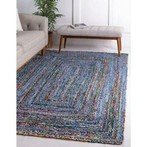 Natural Jute Rug Indian Handmade Handwoven Ribbed Solid Area Rugs, 2x3 Feet