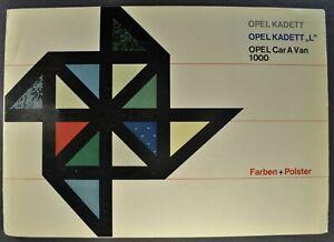 1964 Opel Colors-Int Brochure Kadett L Car-A-Van 1000 Wagon Original German Text