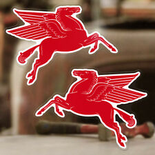 2x pieces Mobiloil Horse sticker decal classic hot rod Mobil oil small 3.25""