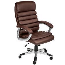 Chaise de bureau siège hauteur réglable simili cuir fauteuil direction marron
