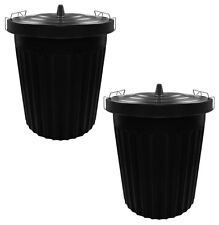 2 x 100 Litre 100L Extra Large Black Plastic Dustbin Kitchen Bin Locking Lid 071
