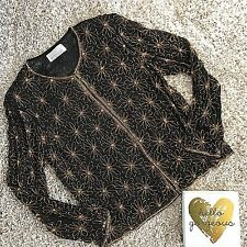 Mark & John Gopal Black Gold Silk Beaded Evening Jacket Top M 8 10 Dressy Formal