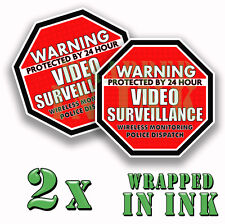 Warning 24 hour Video Surveillance Security Stickers RED OCT Decal 2 PACK