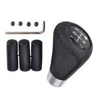Universal Leather Black 5 Speed Stitche Manual Car Gear Stick Shift Knob Shifter