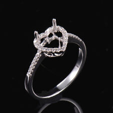 Natural Diamond Semi Mount Ring Engagement Settings Heart 6×6mm 18K White Gold