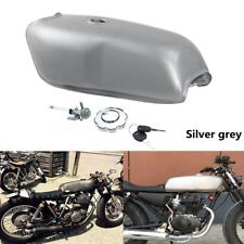 Motorcycle 9L 2.4 Gallon Cafe Racer Sliver Fuel Gas Tank For Yamaha Honda BMW