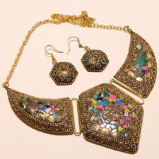 Plated Tibetan Necklace Earring 18-20'' Coral, Turquoise & Multi Gemstone Gold