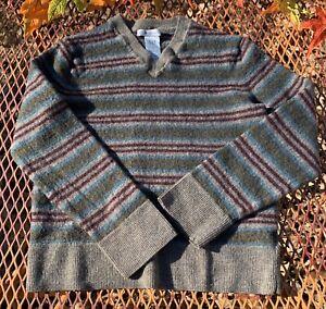 GAP KIDS Boys Sweater 100% Italian Merino Wool Size S Stripe Taupe