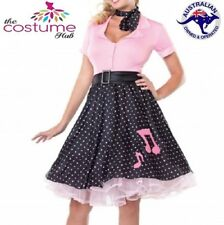 6-26 Plus Size Rock N Roll 50's Costume Polka Dot Swing Skirt Grease Rockabilly