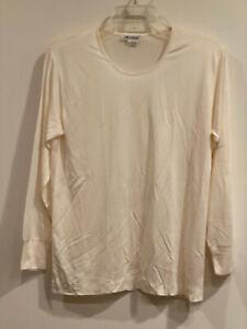 Artsline 100% Pure Silk Ivory Women's Thermal Underwear Long John Top Only - L