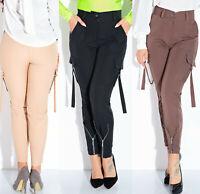 Damen Hose High-Waist Stoffhose Cargohose Röhrenhose Elegant Zipper XS-L  V1