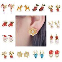 Christmas Snowflake Deer Bell Crystal Ear Stud Earrings Women Girl Xmas Gifts
