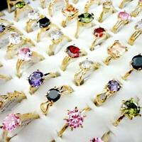 30pcs Zircon Gold Plated Rings Wholesale Jewelry Lots Women Fashion MixedYFP