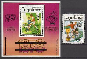 Togo 1499A Block S/S 167A MNH ** Fussball Football 1982 Aufdruck Overprint