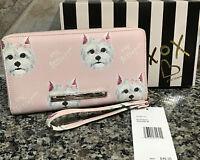 BETSEY JOHNSON Dogs Blush/Pink Ribbons 🎀-Zip Around Wallet/Clutch XOZIPP-B NWT