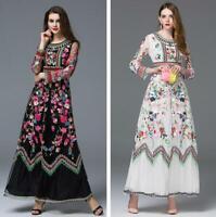 2019 Summer Womens Runway Floral Print High-end Embroidery Swing Slim Long Dress