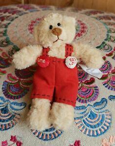 "Gund EZ 2 Love Manni Mini 14163 Tiny Teddy Bear Red Dungarees Soft Plush Toy 5"""