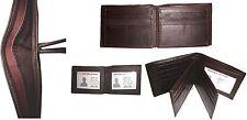 Men's Leather Wallet 9 Cards Holder 3 ID windows Billfold Wallet BR New Lot of 4