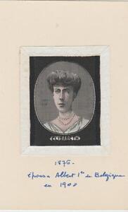 ancienne soie tissée représentant l'épouse du roi albert 1er (belgique)