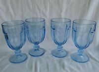 SET OF 4 VINTAGE LIBBEY DURATUFF GIBRALTAR GOBLETS/GLASSES MISTY BLUE 6 3/4""