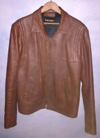 Slim-fitting vintage leather jacket by Zachry.