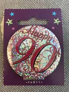 For Her Pink 90th Birthday Badge male brother friend son sister female daughter