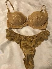 988a374126044 Vtg VICTORIA S SECRET 3623 Lace Second Skin Satin Bra   Thong Set Gold ...
