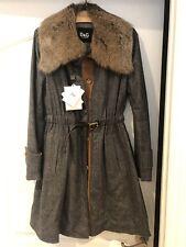 D&G Dolce & Gabbana Detachable Fur Collar Grey Coat 42 6 Nwt $1800