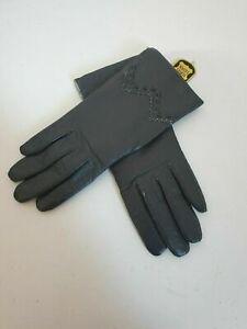 Ladies grey leather gloves size 7.5 vintage NWT