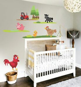 Childrens Farm Life Chicken Hen Cow Pig Green Tractor Tree Wall Stickers Decal 1