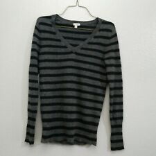 Halogen Petite Small PS Black Gray Pullover Striped Sweater V-neck Cashmere