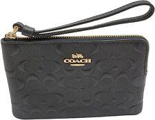 NWT Coach F67555 CornerZip Wristlet Black Signature Leather $98 Retail