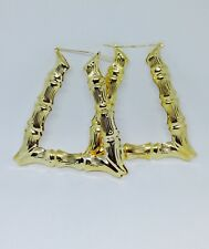 WOMEN TRAPEZOID GOLD TONE 80's DOOR KNOCKER TRIANGLE HOOP BAMBOO EARRINGS