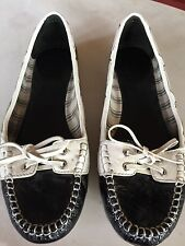 COACH Percy Black & White Crinkle Patent Leather Slip On Loafers Flats Shoes 8 B