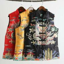 Men's Spring Dragon Pattern Vest Chinese National Casual Waistcoat Buckle Top